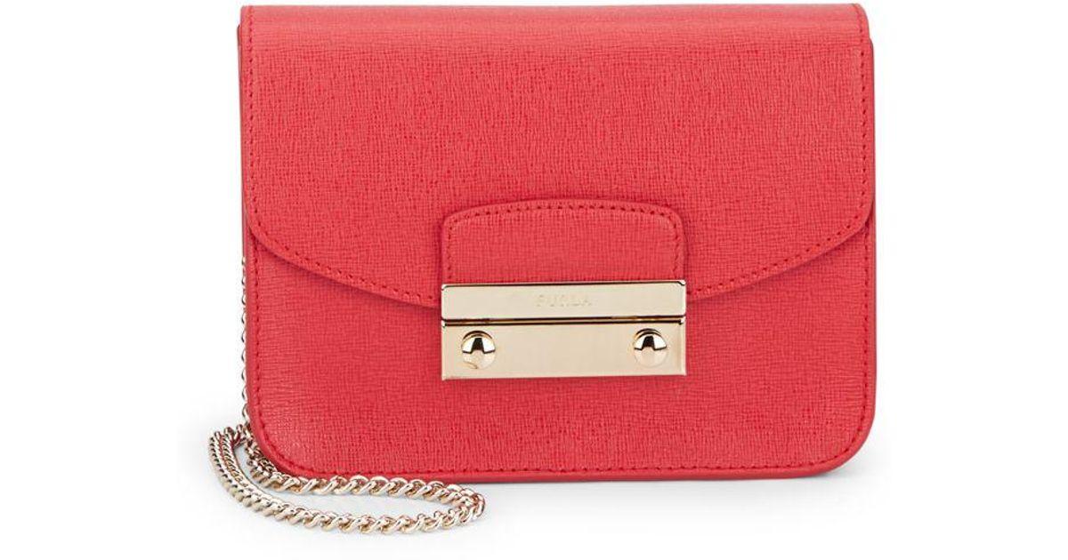 294208ac2e87 Lyst - Furla Julia Mini Saffiano Leather Crossbody in Red