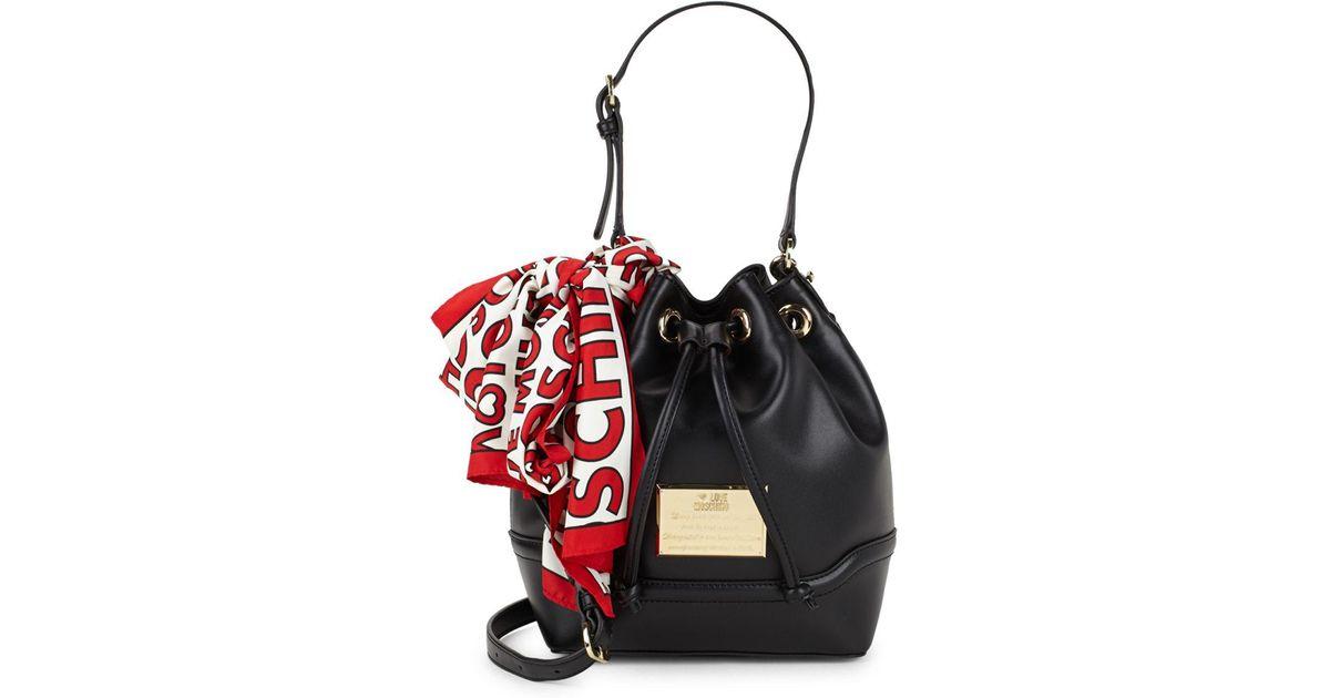 d7714116e Love Moschino Drawstring Bucket Bag in Black - Lyst
