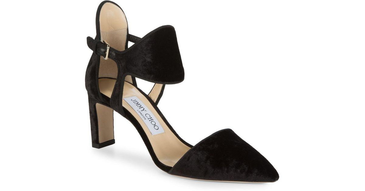 3dcbc42df43 Lyst - Jimmy Choo Moon Velvet Ankle Cuff Block Heels in Black