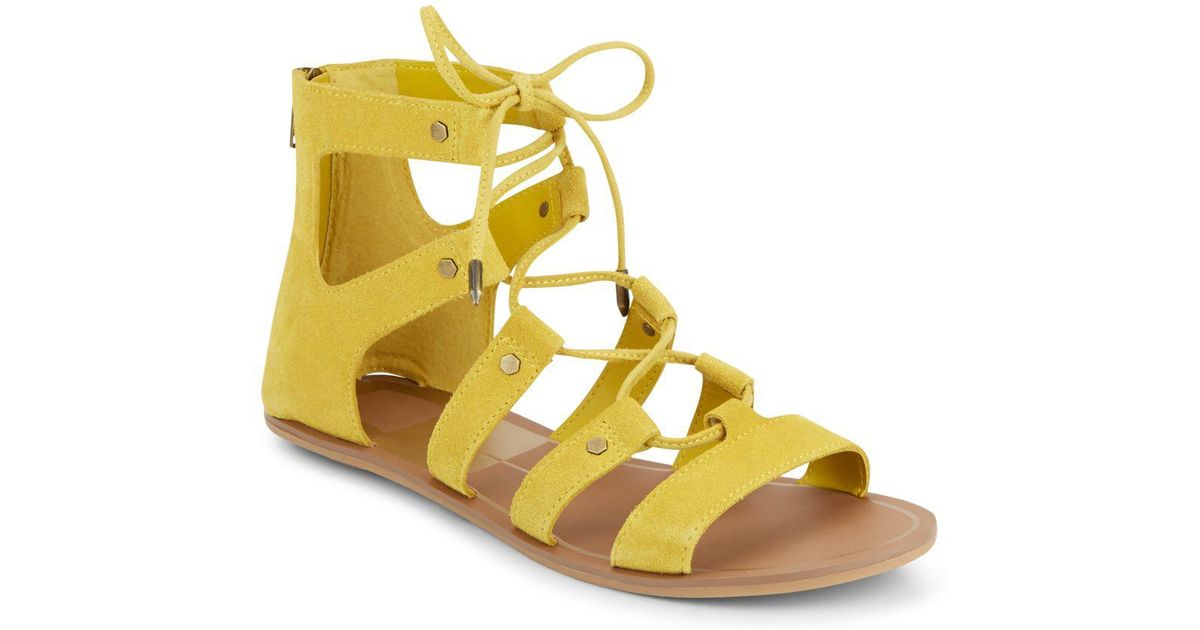 ed5a1d9af54c Lyst - Dolce Vita Val Suede Lace-up Sandals in Yellow