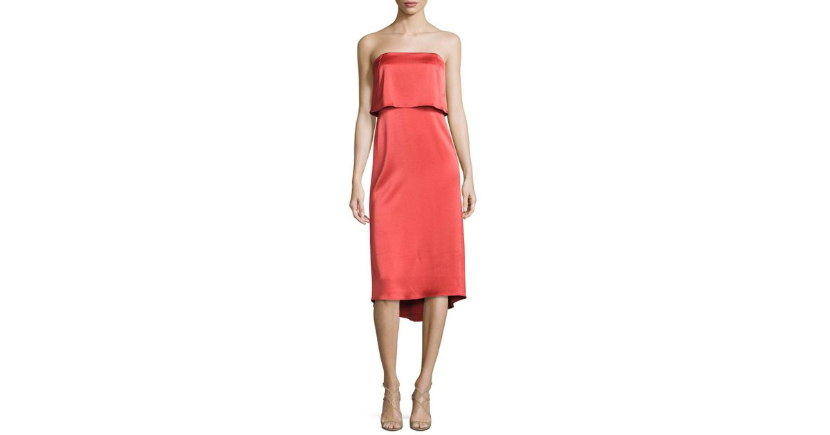 c7a5961136f Lyst - Halston Heritage Strapless Popover Satin Dress in Red