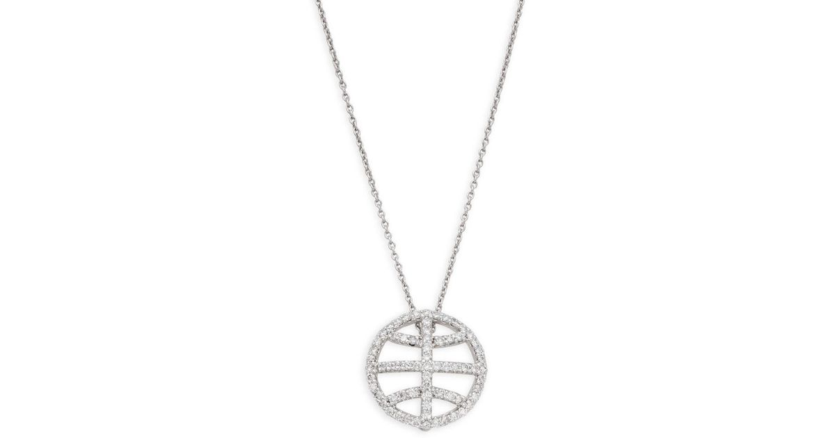 Lyst roberto coin diamond ruby and 18k white gold basketball lyst roberto coin diamond ruby and 18k white gold basketball pendant necklace in metallic save 29 mozeypictures Gallery