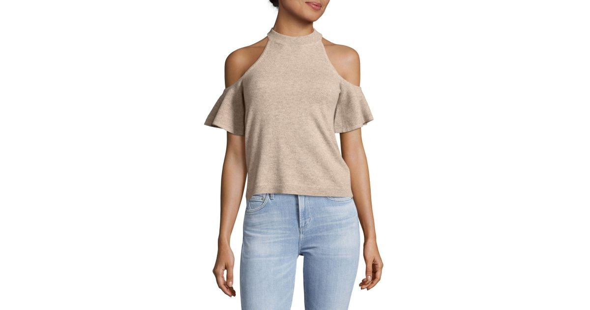 e0f12585c13c5e Lyst - Saks Fifth Avenue Cold Shoulder Knitted Cashmere Top