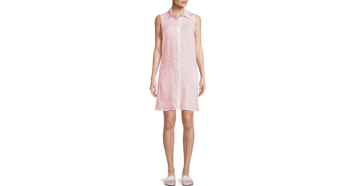 4a445d5235 Lyst - Saks Fifth Avenue Sleeveless Linen Shiftdress in Pink