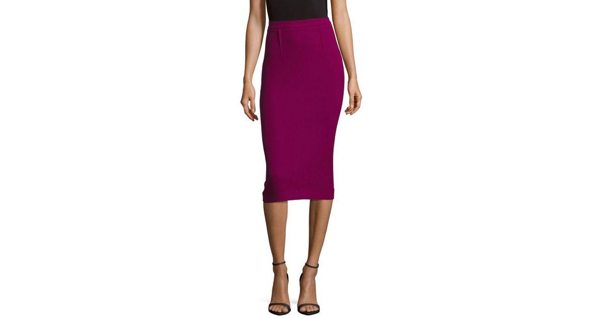 40d5c5fd07 Lyst - Roland Mouret Back-slit Wool Bodycon Skirt in Purple