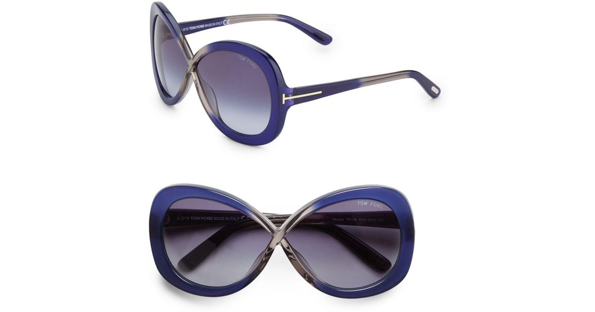 3d0e105f1b0 Lyst - Tom Ford Margot Oversized Two-tone Sunglasses in Blue