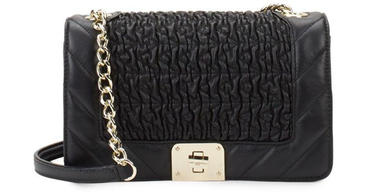 dd928226240d Lyst - Karl Lagerfeld Lara Quilted Leather Shoulder Bag in Black