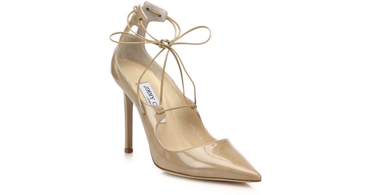 1e2f105ee567 Jimmy Choo - Natural Vita Patent Leather Lace-up Pumps - Lyst