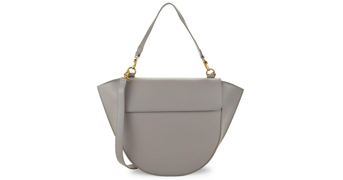 c9306c63ad46 Saks Fifth Avenue Courtney Leather Crossbody Bag in Gray - Lyst