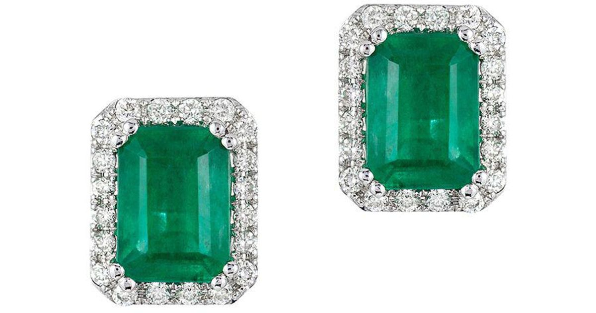 Lyst Effy Brasilica 14 Kt White Gold Emerald And Diamond Earrings In Green