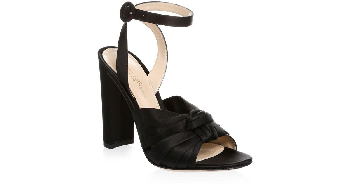225cb9180b2 Lyst - Gianvito Rossi Knot Silk Ankle Strap Sandals in Black