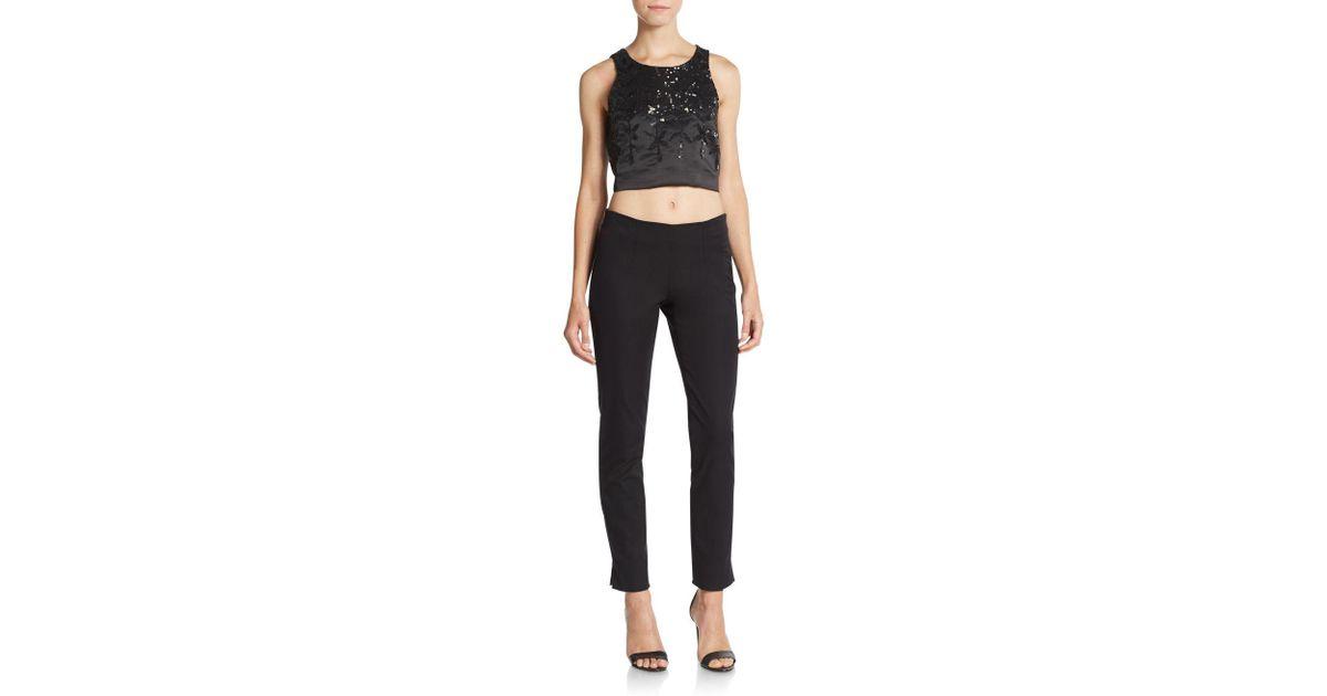 7d40aa3dbe6c7 Lyst - Parker Karmina Sequined Crop Top in Black