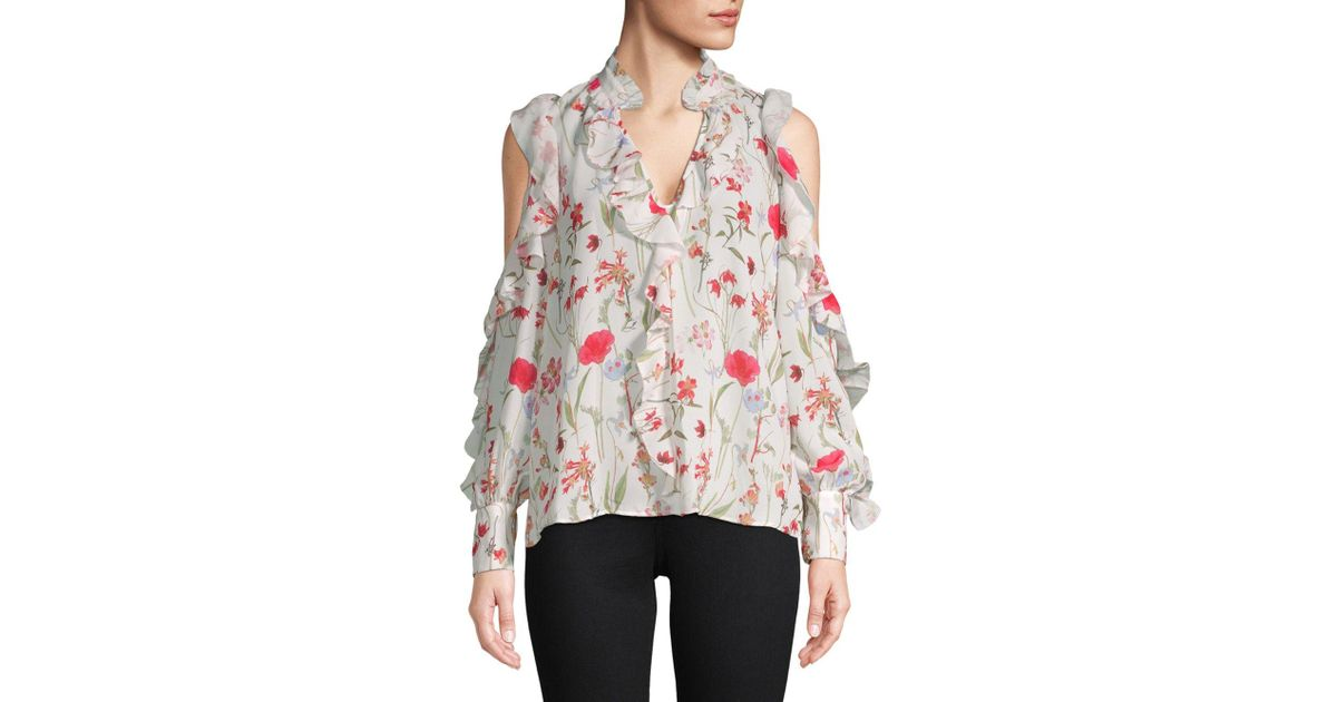 2be2ffd2aba45 Lyst - Parker Printed Ruffle Cold-shoulder Top - Save 30%