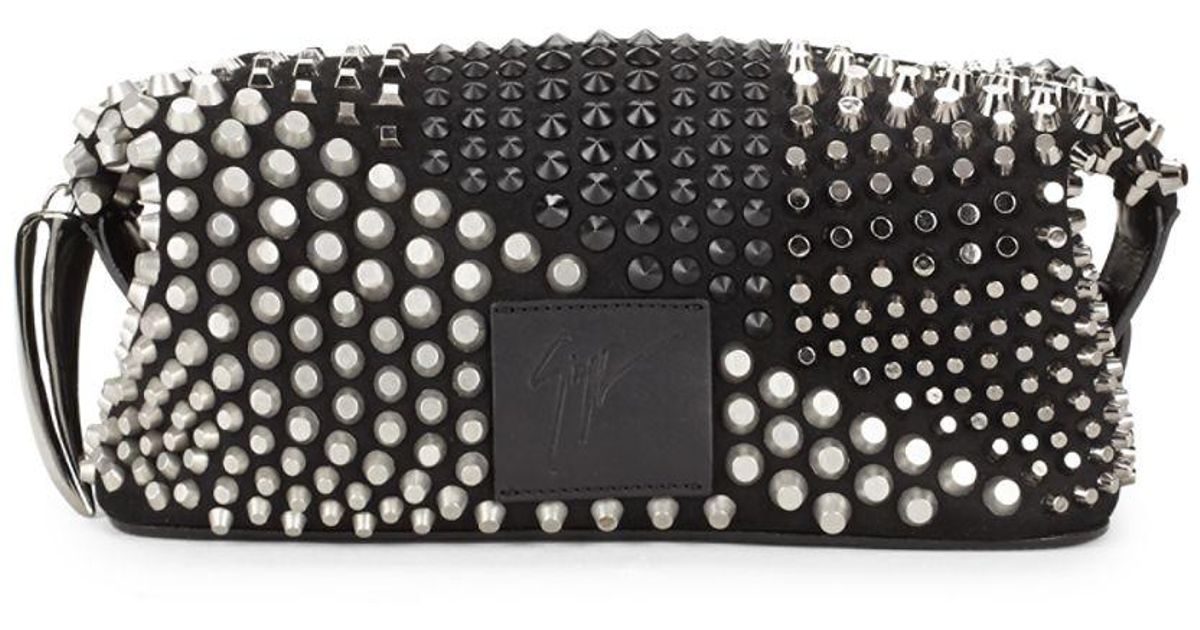 f5552640a2 Lyst - Giuseppe Zanotti Studded Leather Toiletry Bag in Black