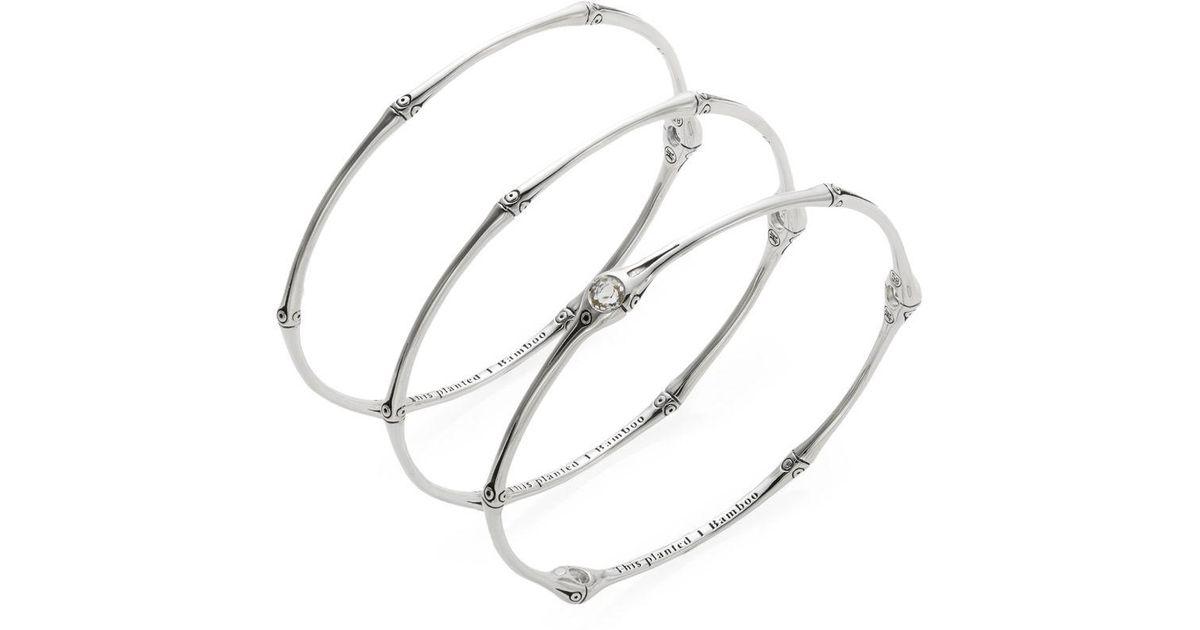 Lyst John Hardy Bamboo White Topaz Sterling Silver Bangle Bracelet Set In Metallic