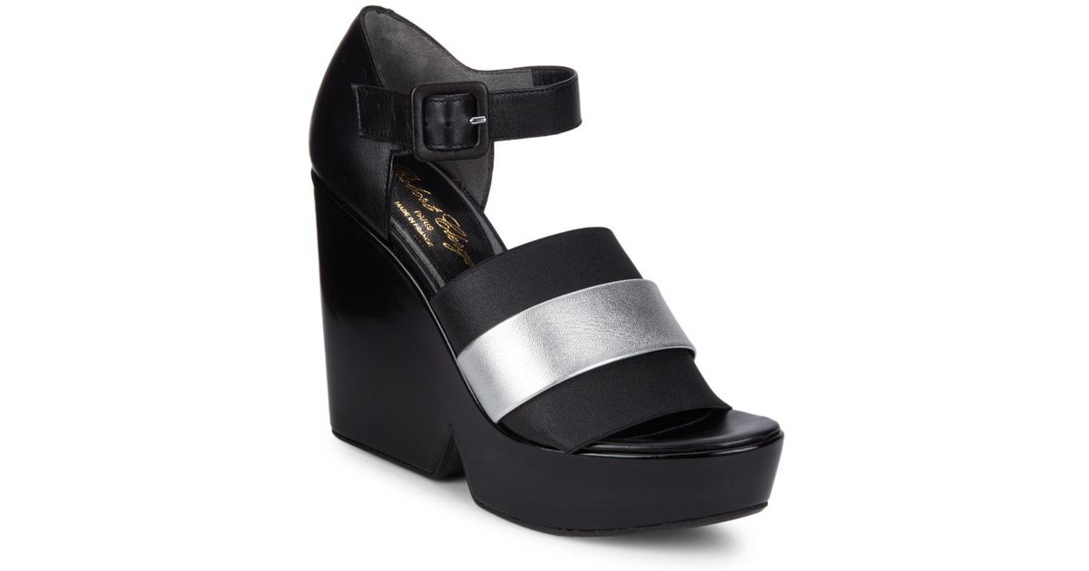cheap sale low price fee shipping cheap authentic outlet Robert Clergerie Metallic Wedge Sandals high quality U5KZHoC