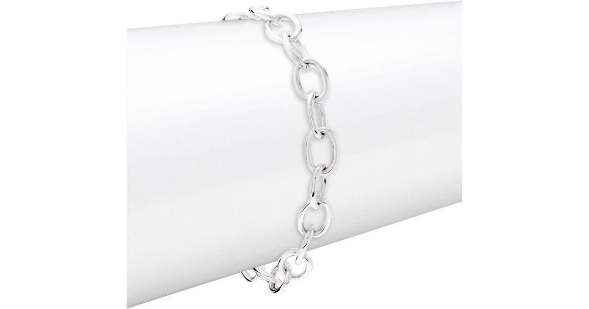 Swarovski Metallic Rhodium Plated Oval Clasping Link Bracelet