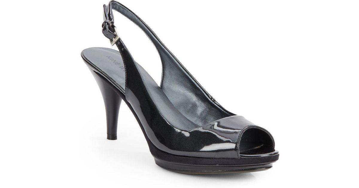 7ea1ee8b7aa Lyst - Nine West Sharina Patent Peep-Toe Slingbacks in Black