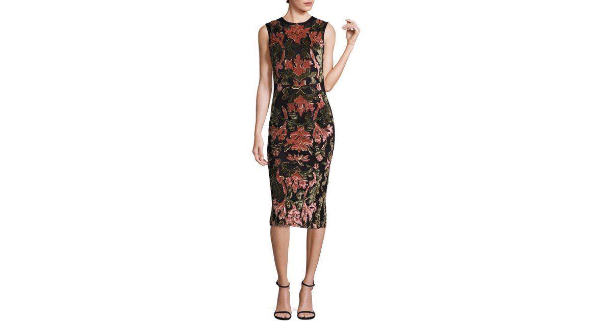 679675069c1e Lyst - Alice + Olivia Nat Embellished Applique Midi Dress in Black
