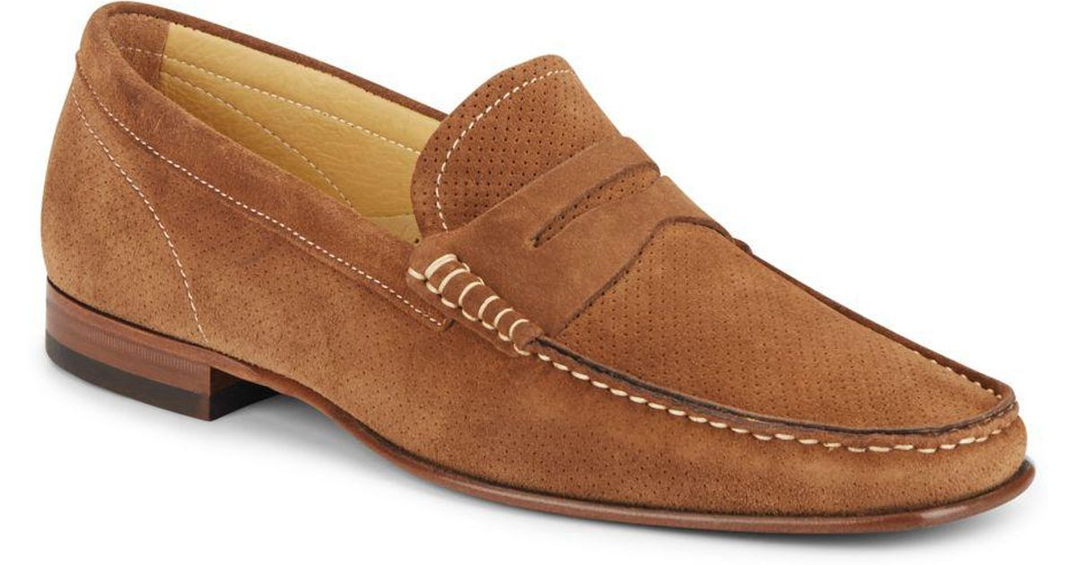 8b1970d23cf Lyst - Massimo Matteo Suede Penny Loafers in Brown for Men