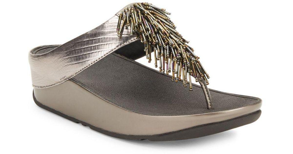 93c6e5a3394f Lyst - Fitflop Cha Cha Tm Sandal Wedges in Metallic