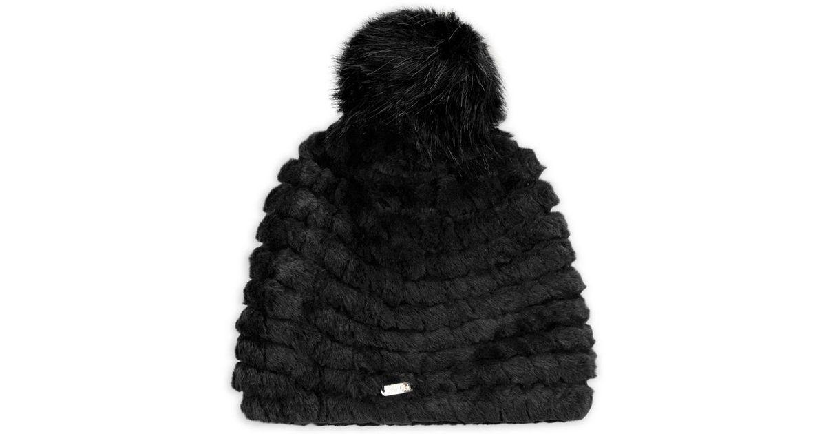 Lyst - CALVIN KLEIN 205W39NYC Faux Fur Knit Beanie in Black caa7e6fd6e9