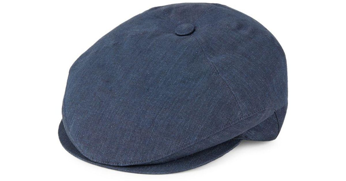 15d69f28f8a Lyst - Hickey Freeman Textured Linen Hat in Blue for Men