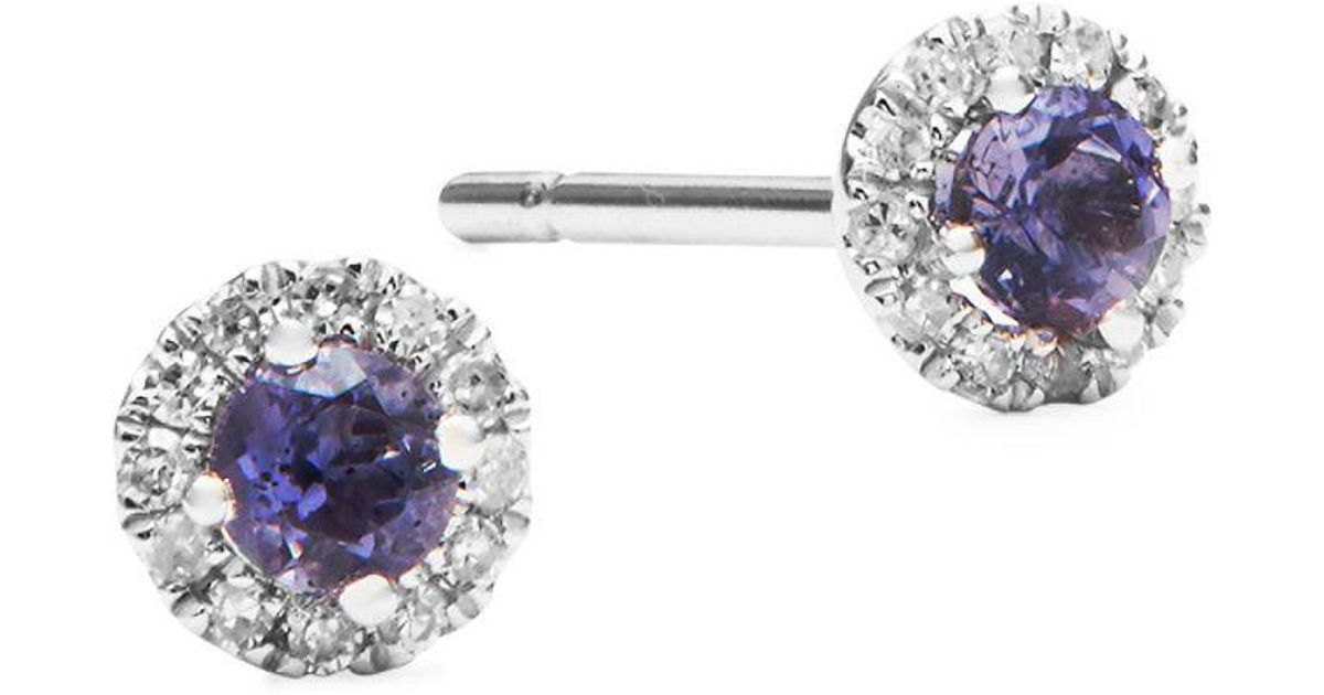 Lyst Meira T Diamond Crystal And 14k White Gold Stud Earrings In Purple Save 17