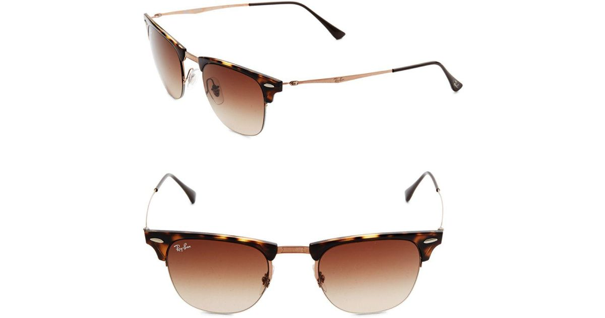 Lyst - Ray-Ban Half Frame Oval Sunglasses in Brown