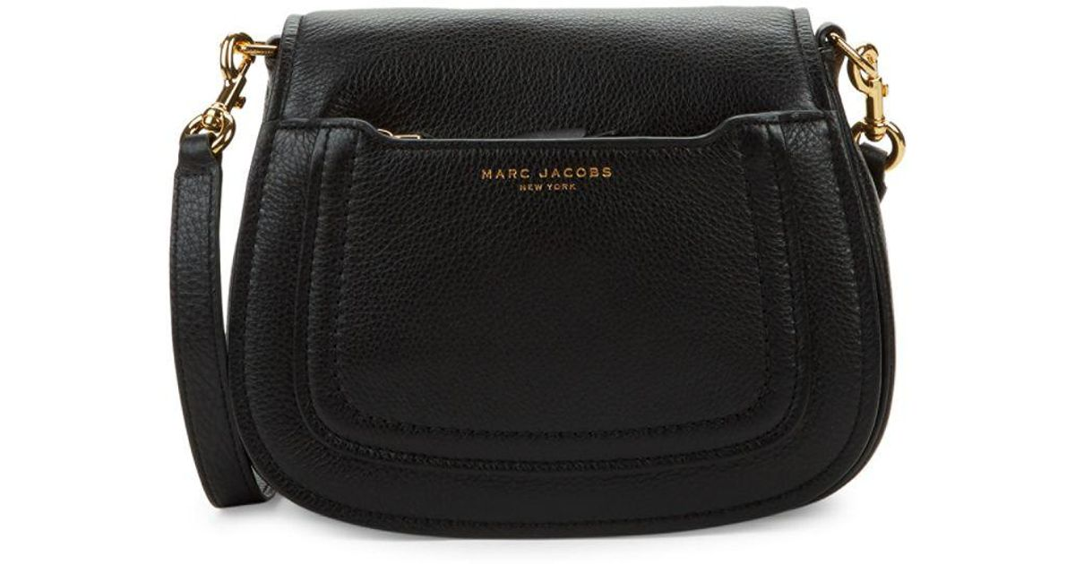 d91caabc5b2 Marc Jacobs Pebbled Leather Mini Saddle Crossbody Bag in Black - Lyst
