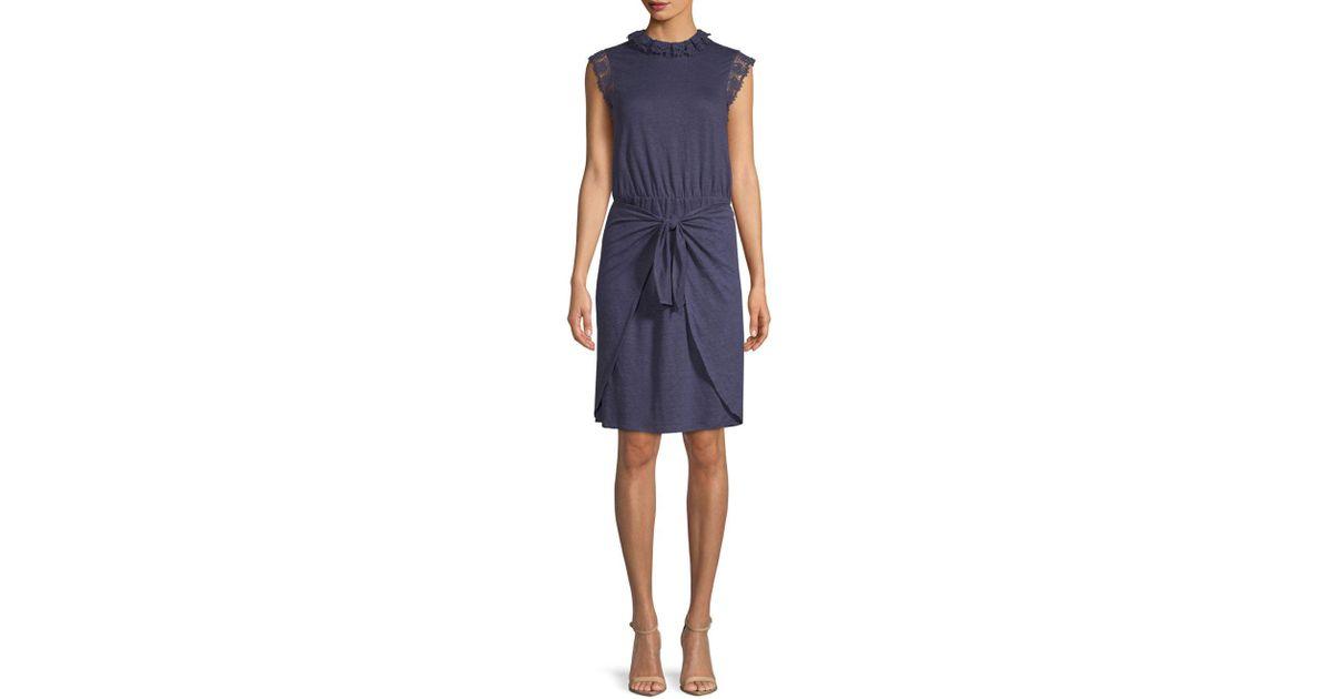 3372d57be0 Lyst - Rebecca Taylor Crochet Sleeveless Linen Dress in Blue - Save  63.522012578616355%
