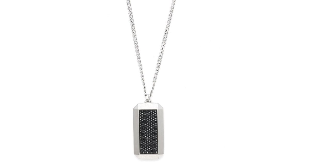 Lyst swarovski rectangle crystal and stainless steel pendant lyst swarovski rectangle crystal and stainless steel pendant necklace in metallic mozeypictures Image collections