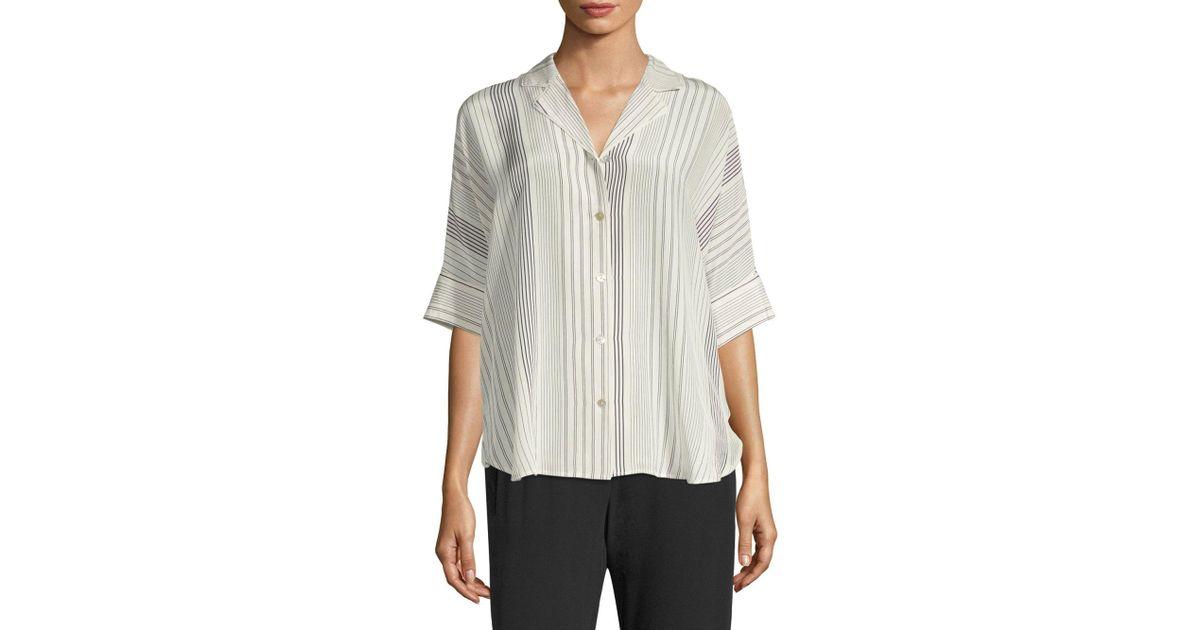 3b0a9136 Eileen Fisher Classic Notch Collar Silk Button-down Shirt - Lyst