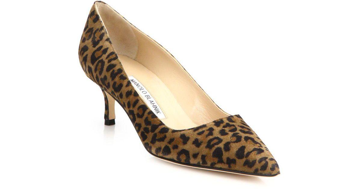 78d90bf6967 Lyst - Manolo Blahnik Leopard Suede Kitten Heel Pumps 2