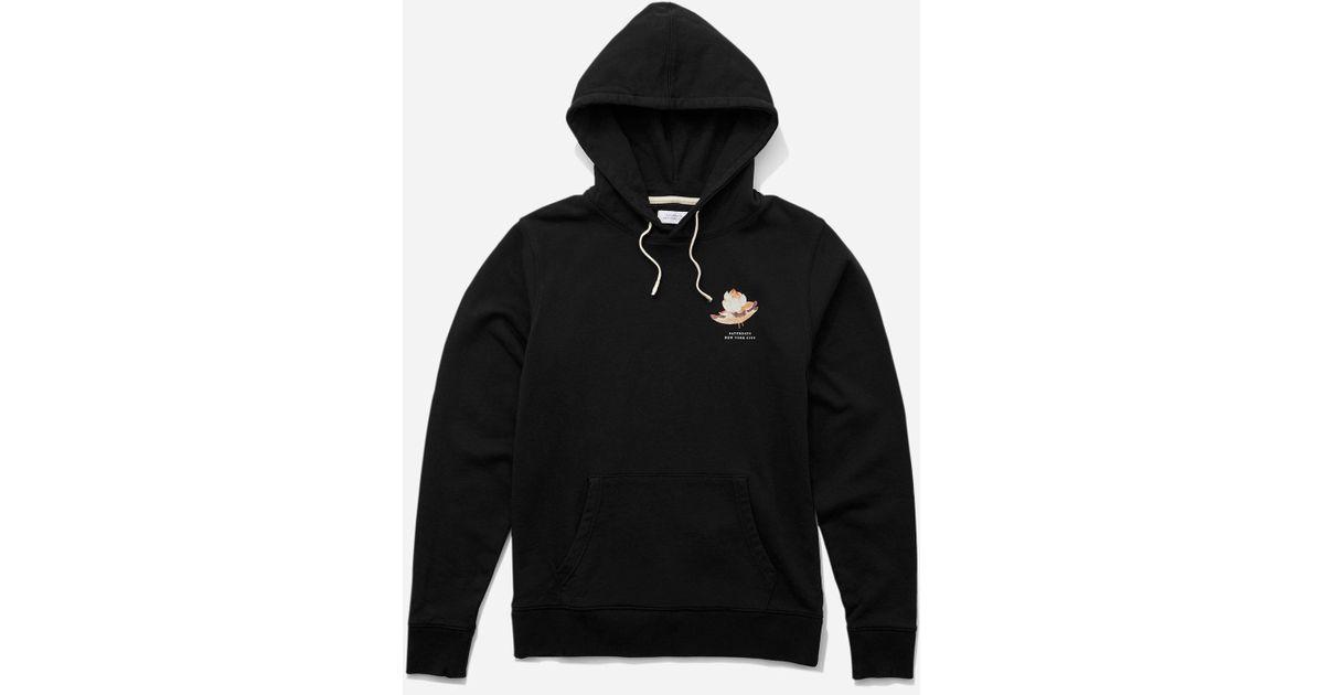 Saturdays Nyc Ditch Lotus Flower Hooded Sweatshirt In Black For Men