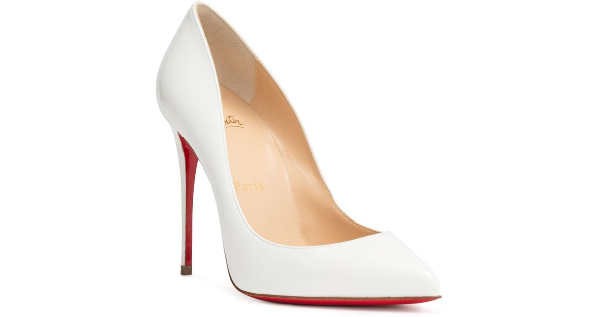 20b646d9e4ab Lyst - Christian Louboutin Pigalle Follies 100 Patent-leather Pumps in White  - Save 24%