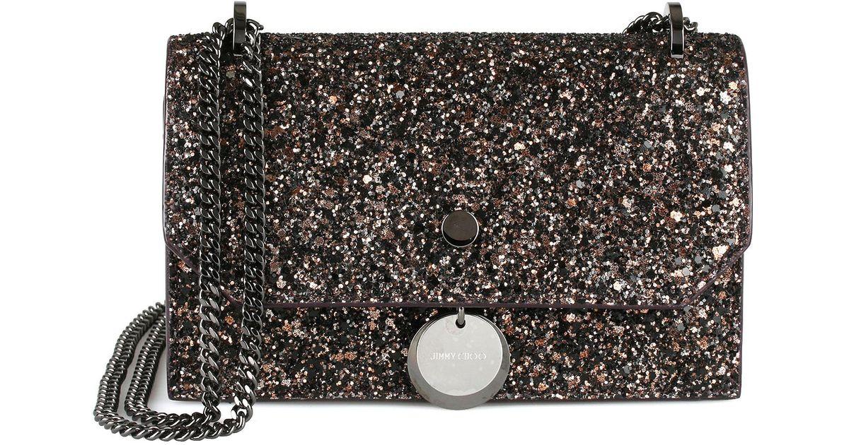 eb7e1379d906 Jimmy Choo Finley Bronze Glitter Mini Bag in Black - Lyst