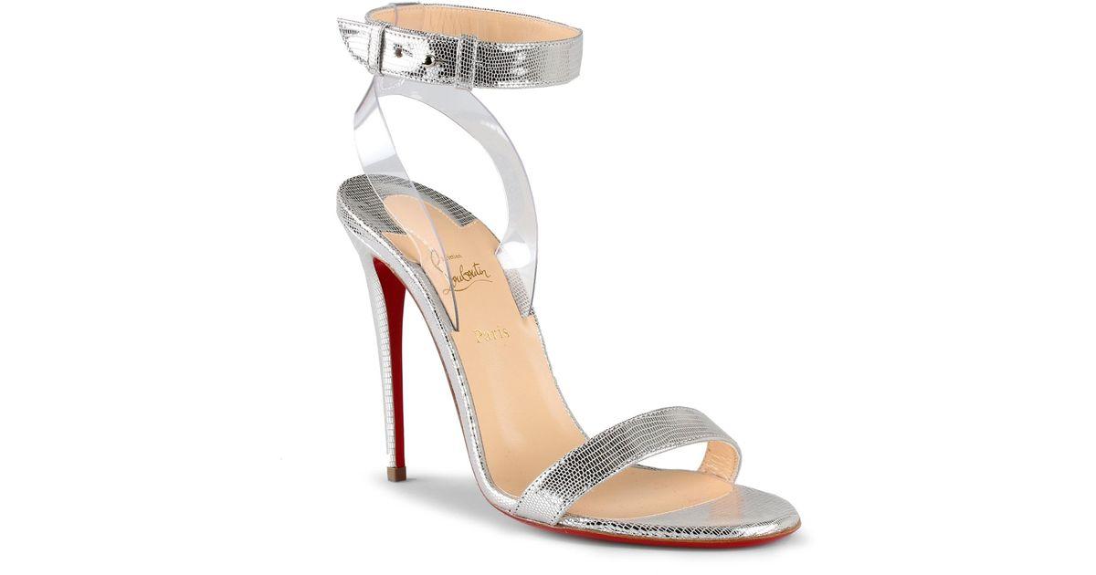 f5dba1e5e3e ... get christian louboutin jonatina 100 silver leather sandals in metallic  lyst b5377 db98e