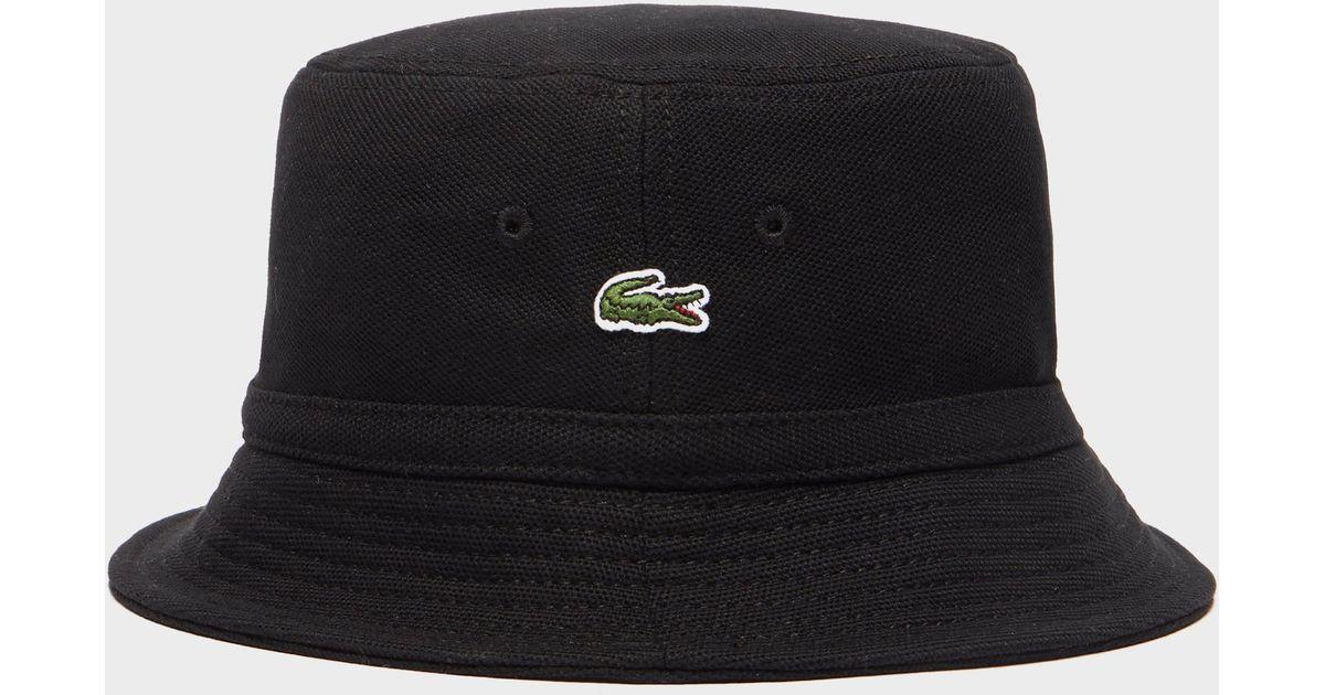 3d81c3d3b0 Lacoste Pique Bucket Hat in Black for Men - Lyst