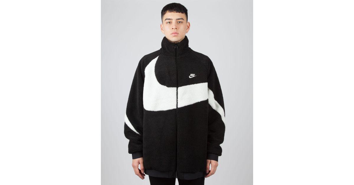 2398b0d0f1a0 Lyst - Nike Oversized Swoosh Full Zip Reversible Fleece Jacket in Black for  Men