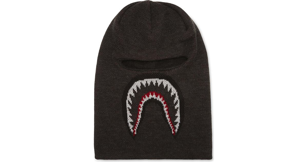 Lyst - A Bathing Ape Shark Knitted Balaclava in Black for Men 5e44107ea9e