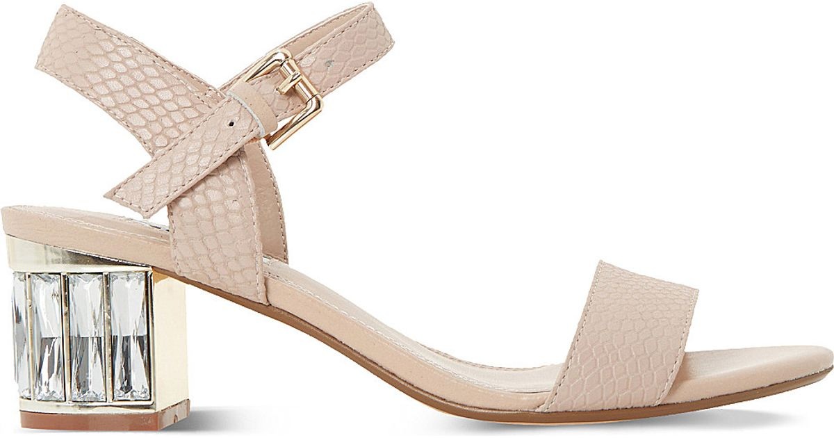 5dc06a118ae37f Lyst - Dune Marcia Jewelled Block-heel Sandals in Pink