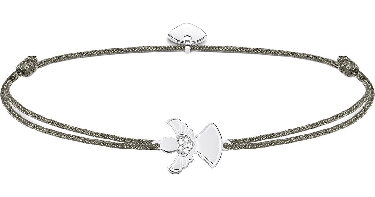 Thomas Sabo Little Secrets Textile And Sterling Silver Guardian Angel Bracelet In Gray Lyst