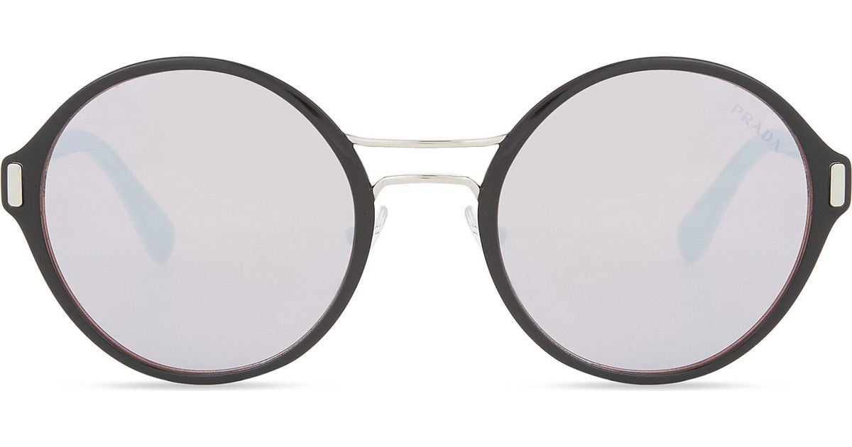Lyst - Prada Pr57ts Round-frame Sunglasses in Metallic