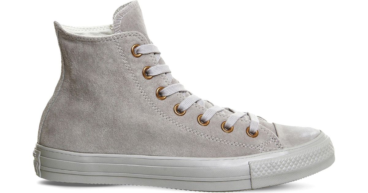 d0ee65a9622f ... sale converse mens all star hi ash grey rose gold suede high top  trainers in gray