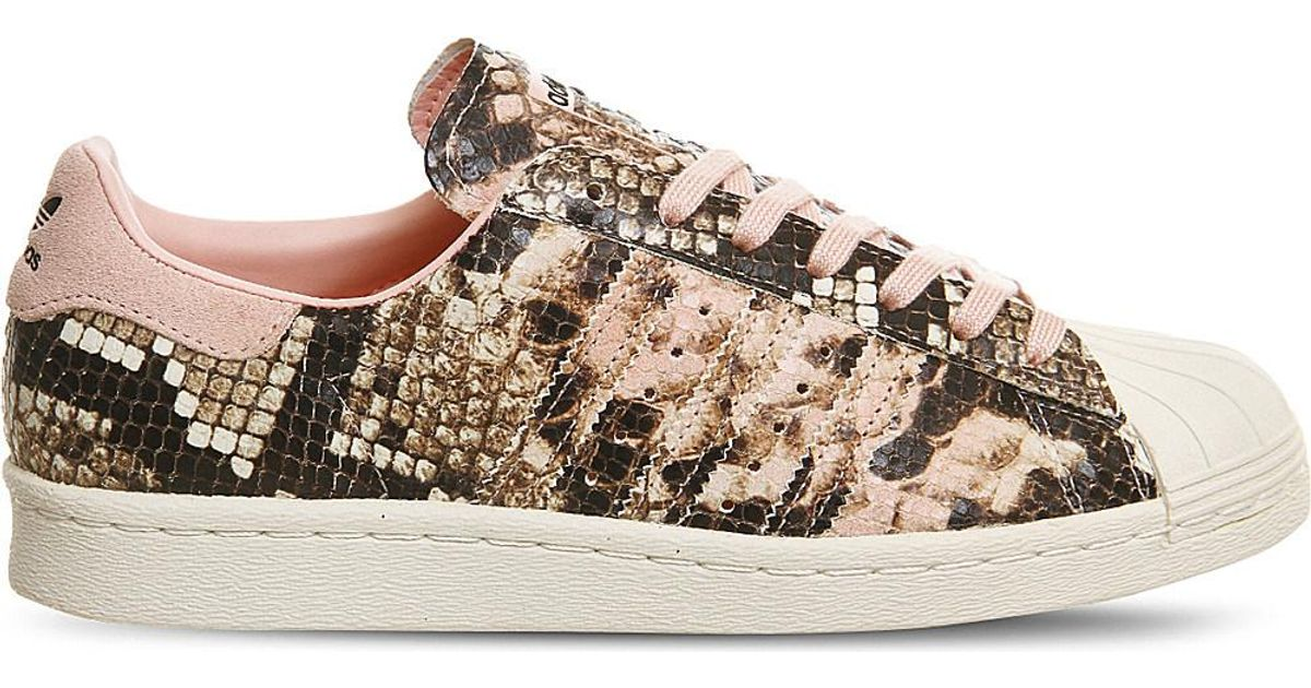 online store 21baf 4677f Lyst - Adidas Originals Superstar 80s Snake-effect Leather Trainers in Pink