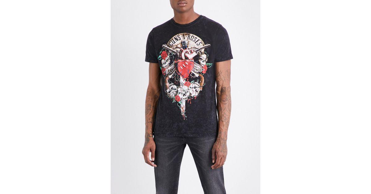 Lyst - Guns N Roses Bleeding Heart Cotton-jersey T-shirt in Black for Men