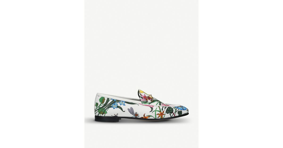 47abf175a Lyst - Gucci Jordaan Canvas Loafers in White