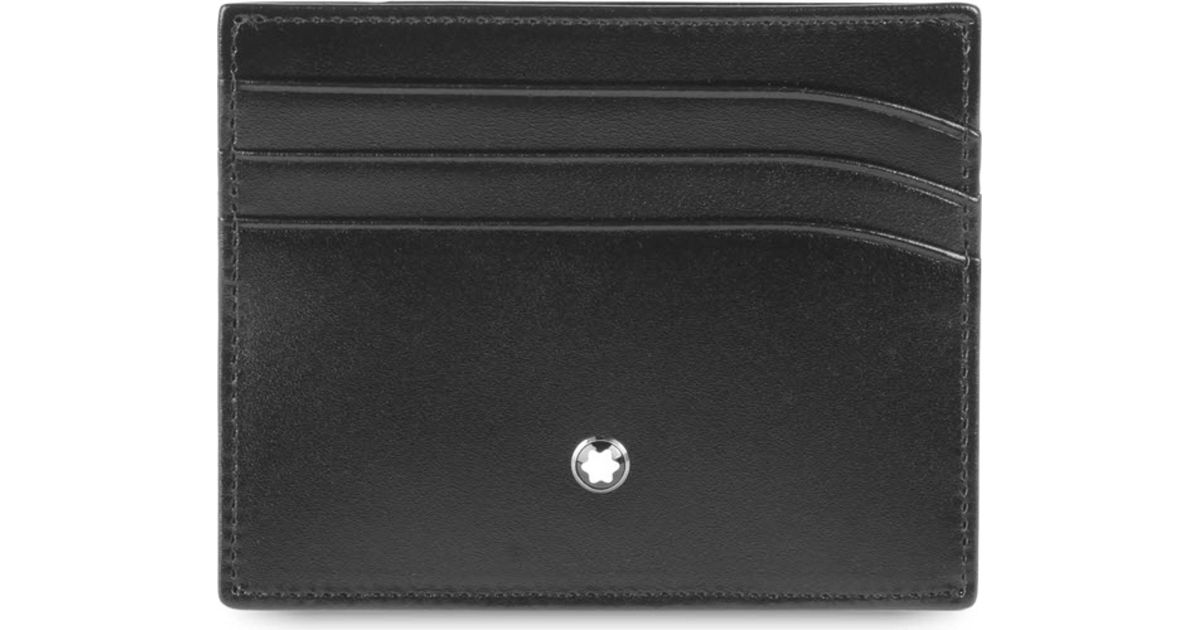 bac97679d4 Montblanc Meisterstück Leather 6cc Credit Card Holder in Black for Men -  Lyst