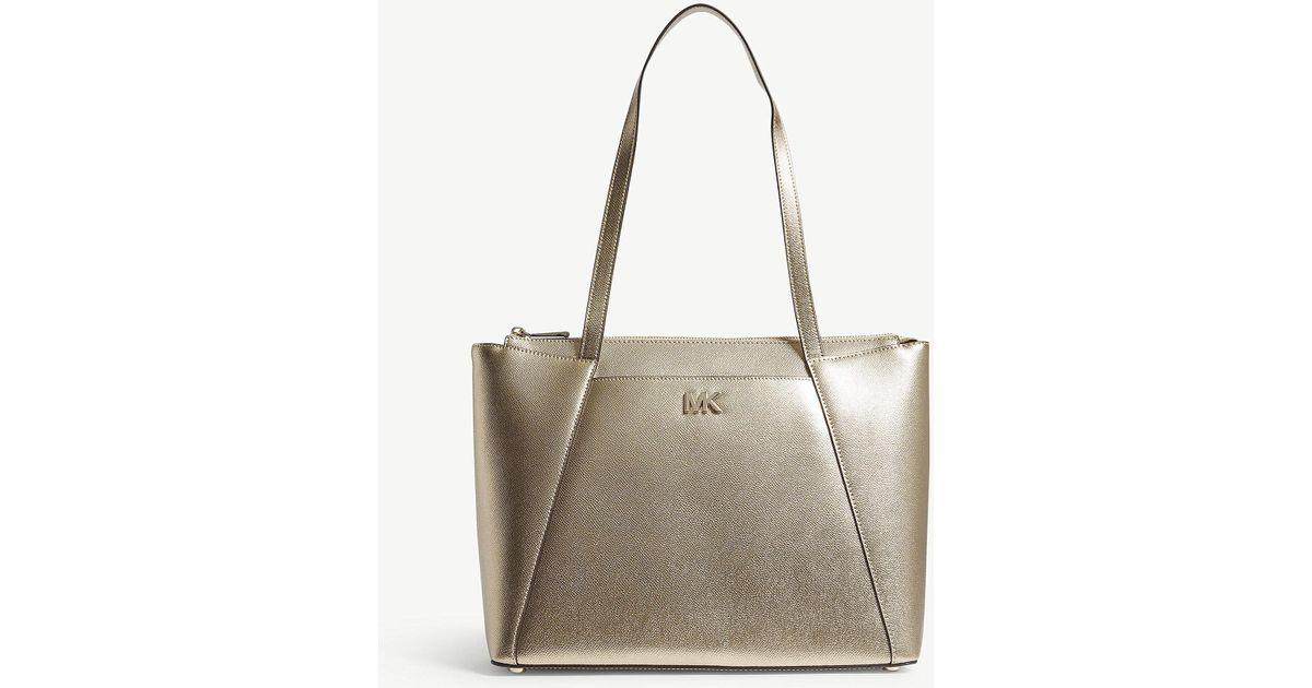 e2387c86e4 Lyst - MICHAEL Michael Kors Michael Kors Pale Gold Modern Maddie Metallic Leather  Tote Bag in Metallic